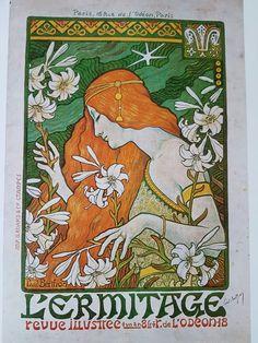 Art Nouveau Art Deco Art Print 8 x 10 - Redhead Flapper Goddess with Flowers Kunst Poster, Poster Art, Print Poster, Retro Poster, Poster Vintage, Art And Illustration, Inspiration Art, Art Inspo, Eugene Grasset