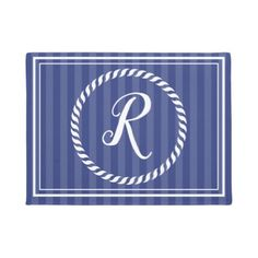 Blue Striped Nautical Monogrammed Door Mat - home gifts ideas decor special unique custom individual customized individualized