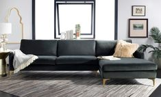 Mercury Row Farleigh Right Hand Facing Hungerford Sectional Upholstery Color: Dark Gray Dark Grey Couches, Modern Rustic Interiors, Sectional Sofa, Sofas, All Modern, Living Room Furniture, The Row, Love Seat, Mercury