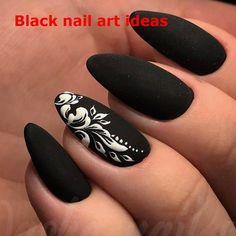 Fancy nails, black coffin nails, black manicure, black white nails, m Black White Nails, Matte Black Nails, Black Nail Art, Black Manicure, Nail Pink, Fancy Nails, Trendy Nails, My Nails, 3d Nail Designs