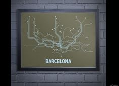 A modern graphic interpretation of the complete Barcelona mass transit system. 24 x 18 Screen Print French Papers Olive cover with light blue ink. Made in Brooklyn, NY. Standard size for easy/affordable framing. Frame not included. Subway Map, Minimalist Art, Adventure Is Out There, Travel Posters, Design Art, Graphic Design, Wall Art Prints, Screen Printing, Neon Signs