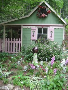 garden gates I'd love to have a garden shed like this* mini raised beds Lovely little garden cottage Fairytale Cottage, Garden Cottage, Cottage Homes, Home And Garden, Cottage Porch, Backyard Cottage, Garden Modern, Garden Whimsy, Garden Art