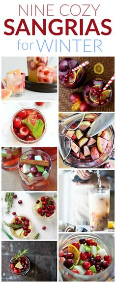 Cranberries, pomegranate, and clementines, oh my! Winter fruit and fresh herbs get all the love in these cozy sangrias for winter. Party Drinks, Fun Drinks, Yummy Drinks, Yummy Food, Mixed Drinks, Yummy Yummy, Beverages, Tasty, Old Recipes