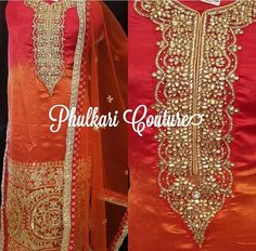 Hot colors and beautiful embroidery by Phulkari Couture!