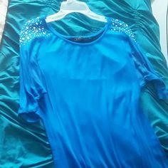 Blue blouse sparkles on shoulder lace back Blue sparkles lace on the back Tops Blouses