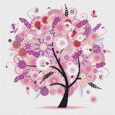 Tree with Flowers PDF Cross Stitch Pattern by XSquaredCrossStitch