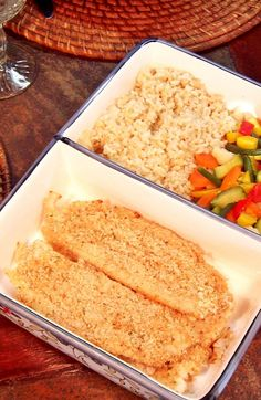 Enjoy this cheesy, crispy fish fillet flavored with garlic and Italian bread crumbs. Instant rice and frozen vegetables complete this 30 minute meal.