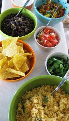 Mexican Fiesta Party for Mom's Birthday: Mango Pico de Gallo, Guacamole, Spanish Rice, Black Beans