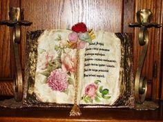 old book, tutorial, decoupage, art, handmade Decoupage Tutorial, Decoupage Art, Book Crafts, Diy And Crafts, Paper Crafts, Altered Books, Altered Art, Wooden Books, Altered Bottles