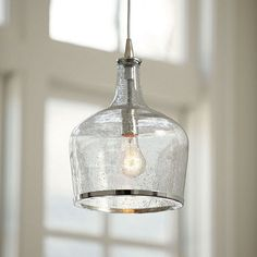 I'd love to put this in my laundry room. It's vintage inspired seeded glass. It's casual with a subtle sophisticated style. Modern Kitchen Lighting, Kitchen Island Lighting, Kitchen Lighting Fixtures, Kitchen Pendant Lighting, Kitchen Pendants, Glass Pendant Light, Dining Room Lighting, Home Lighting, Lighting Ideas