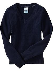 Girls Uniform V-Neck Sweaters