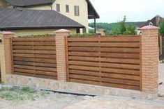деревянный забор кирпичные столбики - Поиск в Google
