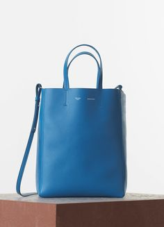 SMALL VERTICAL CABAS IN TURQUOISE GRAINED CALFSKIN Spring 2015 collections - Handbags | CÉLINE
