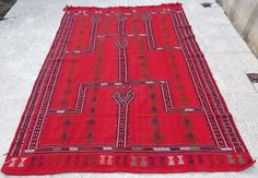 5.8 X 7.9 Ft. Old Central Anatolian Konya Cicim Embroidery Rug, Large Red Kilim  #Turkish