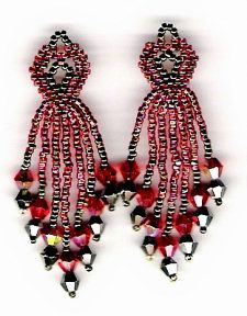 Red Heart Earrings Pattern at Sova-Enterprises.com Lots of free beading patterns and tutorials.