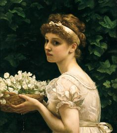 Edward John Poynter  (English, 1836-1919)  Pea Blossoms, 1890  Oil on canvas