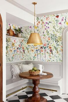 Kitchen Wallpaper to Spice up the Room Secret Garden The dining room is an excellent space to play with prints. A botanical pattern, like RollNRoll's Wildflower Wallpaper, is fresh when paired with distressed furnishings, mix-and-matched patterns, and con Bright Wallpaper, Baby Wallpaper, Wallpaper Decor, Interior Design Wallpaper, Brown Wallpaper, Wallpaper Patterns, Sunset Wallpaper, Home Wallpaper, Deco Cool