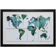 Cuadro enmarcado 60x90 cm coll mapa
