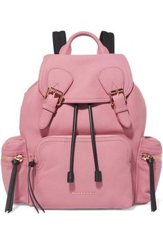 Burberry - Medium Mesh-trimmed Textured-leather Backpack - Pink