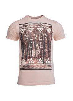 Front Avenster Beige Never Give Up Men's Round Neck T-Shirt