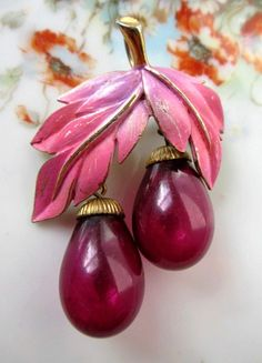 Vintage Blown Glass Fruit Brooch with Enamel