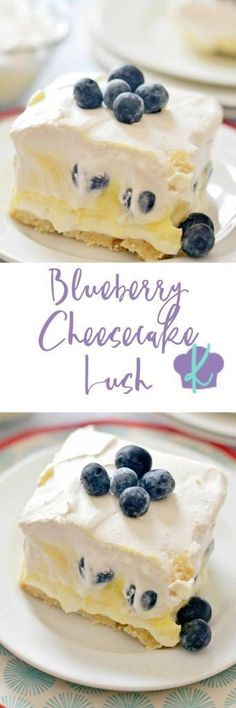 This Blueberry Cheesecake Lush is a quick and simple dessert recipe for your spring and summer get-togethers. Layers of cream cheese, Cool Whip, pudding and fresh fruit make this a breeze to assemble (Healthy Dessert Recipes) Brownie Desserts, Mini Desserts, Blueberry Desserts, Quick Easy Desserts, Blueberry Cheesecake, Homemade Desserts, No Bake Desserts, Cheesecake Recipes, Just Desserts