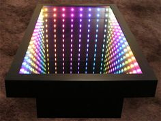 Infinity Mirror Displays and Infinity Mirror Tables Mirror Box, Led Mirror, Mirror With Lights, Mirror Ideas, Infinity Spiegel, Infinity Mirror Table, Infinite Mirror, Mirror Illusion, Infinity Lights