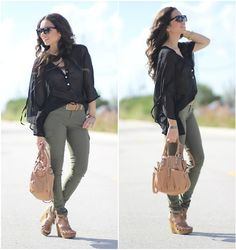 Steve Madden Shoes, Furor Moda Tops, Express Pants, Furor Sunglasses, Henri Bendel Bracelet, Mimi Boutique Bag - Cargo and sheer! - Daniela Ramirez
