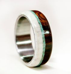 Elk antler & ironwood wedding band with a turquoise inlay. Handmade wood wedding ring.