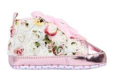 EOZY Rosa 12CM Flor De Encaje Zapatos PU De Primeros Pasos De Bebé Para Niños