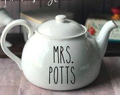 Rae Dunn Inspired Tea Mrs. Potts Decal~Rae Dunn Decal~Farmhouse Decor~Kitchen Decor~Beauty~Beast~Rae Dunn Mug Decal~Rae Dunn Teapot Decal