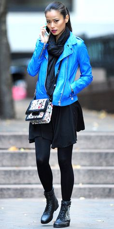 Jamie Chung wearing a blue leather moto jacket and a black dress while shopping... Did we mention her boots are only $55? Click for details.
