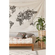 Armando Veve Map Tapestry ($69) ❤ liked on Polyvore featuring home, home decor, wall art, black white wall art, urban outfitters, black and white home decor and map home decor