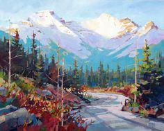 "'Vermillion Lakes Summer' 24"" x 30"" acrylic on canvas by Randy Hayashi"