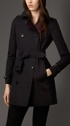 Gabardine Trench Coat with Contrast Jacquard Detail | Burberry