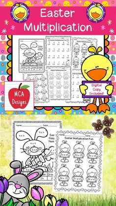 This product features various worksheets and activities to help your students practice their multiplication facts through 12. Each worksheet is accented with various Easter themed graphics! This product includes both a print and DIGITAL copy. The digital copy is great for DISTANCE LEARNING! #easter #teacherspayteachers #tpt Multiplication Practice, Multiplication And Division, Easel Activities, Easter Printables, Math Workshop, Science Resources, Math Games, Math Lessons, Math Centers