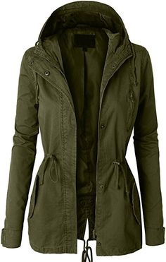 LE3NO Womens Military Anorak Safari Jacket with Pockets, Olive Green, Small at Amazon Women's Coats Shop