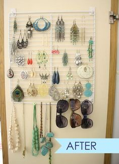 DIY earring organizer from old fridge shelf. Really cool idea for a walk-in closet area - could even spray paint it. A bakers rack would work well easy thrift store find. Jewellery Storage, Jewellery Display, Diy Jewelry, Gold Jewellery, Silver Jewelry, Jewelry Making, Closet Organization, Jewelry Organization, Earing Organizer