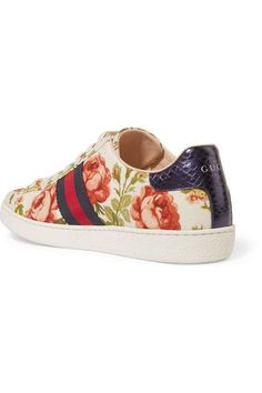 Gucci for NET-A-PORTER - New Ace Floral-print Canvas Sneakers - Off-white - IT39.5