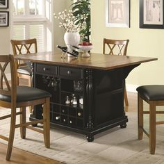 Kitchen Carts Two-Tone Kitchen Island with Drop Leaves