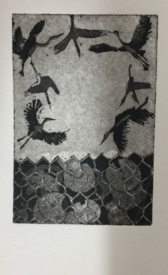 Francisca Louw; Copper plate hard ground etching with aquatint. Intaglio printing