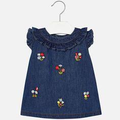 9848c1ce4f590 Children s Designer Clothing and Accessories. Embroidered Denim DressJeansRuffle  ...