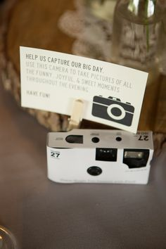 Disposable camera on wedding guest table
