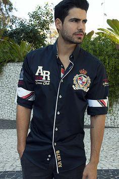 PORTO ALEGRE Navy Stylish Men, Men Casual, Men Wear, Men Shirt, Polo Shirts, Men's Clothing, Mens Fashion, Fashion Trends, Shirt Style