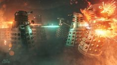 Dalek Ground War by AntLamb on DeviantArt Sonic Screwdriver, Alien Worlds, Dalek, Mason Jar Lamp, Dr Who, Doctor Who, My Best Friend, How To Find Out, Table Lamp