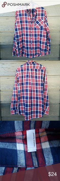 American Apparel Plaid Flannel Excellent condition  Colors: red, blue, white, and cream Feel free to ask me any additional questions! Reasonable offers? are considered. Happy Poshing!! No trades, or modeling American Apparel Tops