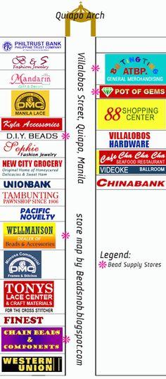 Bead Snob: Map of the Bead Stores of Villalobos Street, Quiapo Manila Manila, City Grocery, Map Store, Gem Shop, Hardware, Brick And Mortar, New Crafts, Diy, Beads