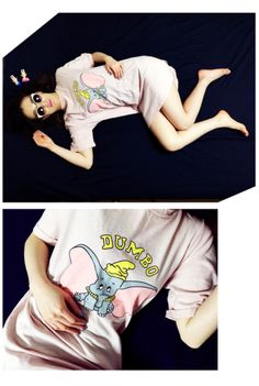 dumbo long t-shirt white & pink