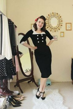 this look from the ModCloth Style Gallery! Cutest community ever. Rockabilly Outfits, Retro Outfits, Vintage Outfits, Cool Outfits, Fashion Outfits, Rockabilly Style, Vintage Inspired Fashion, 1950s Fashion, Vintage Fashion