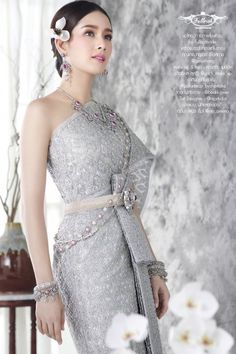 New Thai traditional - Fullrichbride Chinese Wedding Dress Traditional, Thai Traditional Dress, Traditional Outfits, Thai Brides, Laos Wedding, Thai Wedding Dress, Bridal Dresses, Girls Dresses, Thailand Fashion